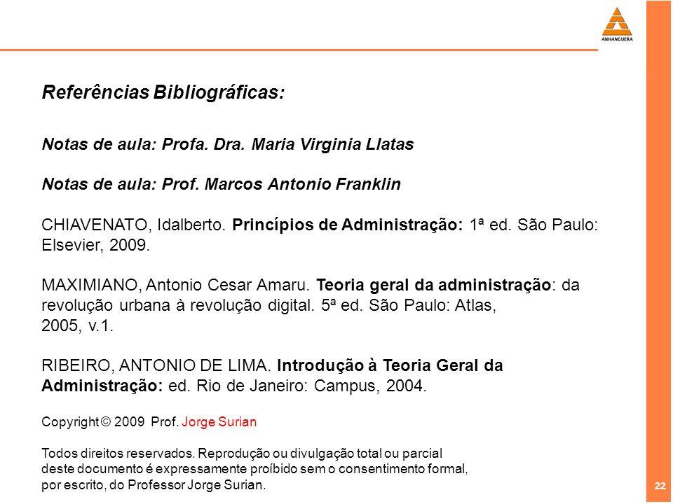 22 Copyright © 2009 Prof. Jorge Surian Todos direitos reservados. Reprodução ou divulgação total ou parcial deste documento é expressamente proíbido s