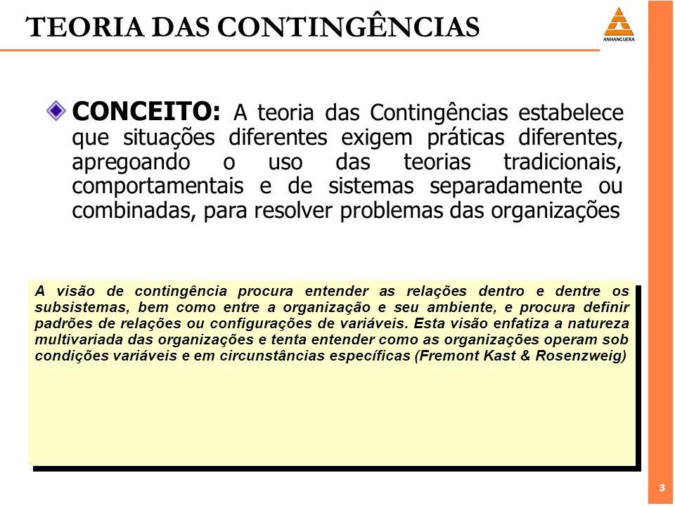 3 3 TEORIA DAS CONTINGÊNCIAS A visão de contingência procura entender as relações dentro e dentre os subsistemas, bem como entre a organização e seu a