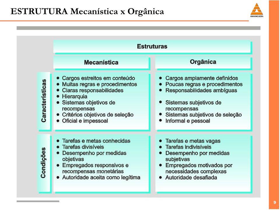 10 LAWRENCE E LORSCH (Ambiente e Estrutura) Questão básica: O que a organização faz para lidar com as diversas condições econômicas e de mercado.