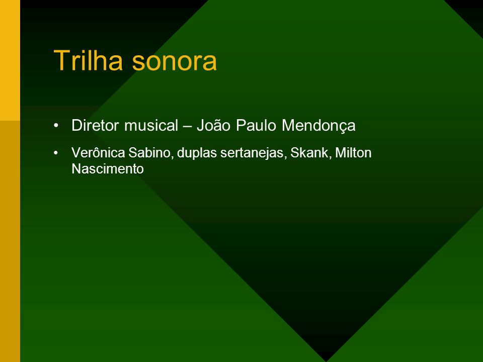 Trilha sonora Diretor musical – João Paulo Mendonça Verônica Sabino, duplas sertanejas, Skank, Milton Nascimento