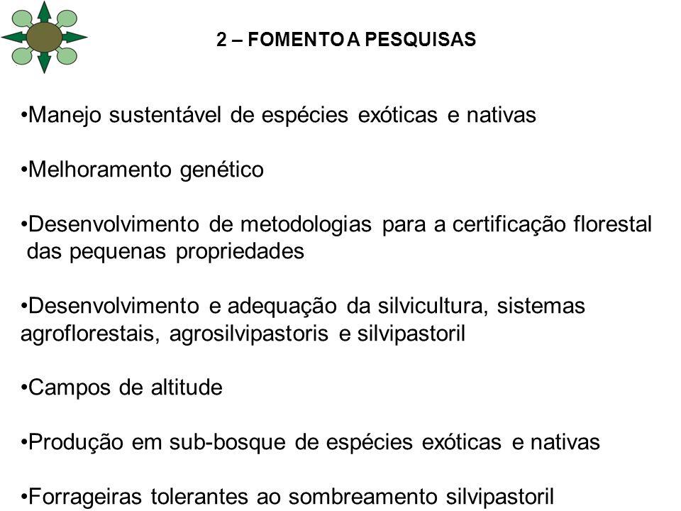 2 – FOMENTO A PESQUISAS Manejo sustentável de espécies exóticas e nativas Melhoramento genético Desenvolvimento de metodologias para a certificação fl