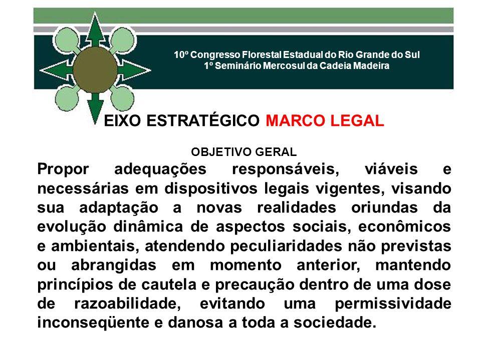 10º Congresso Florestal Estadual do Rio Grande do Sul 1º Seminário Mercosul da Cadeia Madeira EIXO ESTRATÉGICO MARCO LEGAL OBJETIVO GERAL Propor adequ
