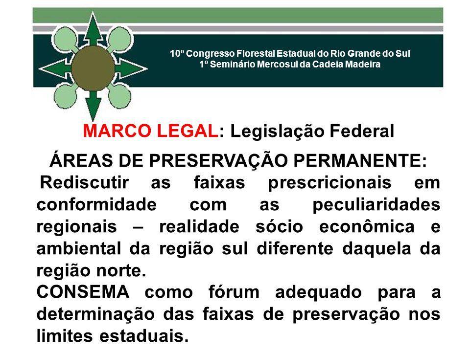 10º Congresso Florestal Estadual do Rio Grande do Sul 1º Seminário Mercosul da Cadeia Madeira MARCO LEGAL: Legislação Federal ÁREAS DE PRESERVAÇÃO PER