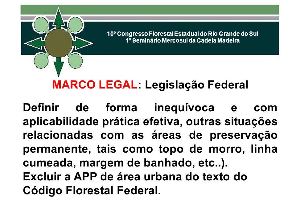 10º Congresso Florestal Estadual do Rio Grande do Sul 1º Seminário Mercosul da Cadeia Madeira MARCO LEGAL: Legislação Federal Definir de forma inequív