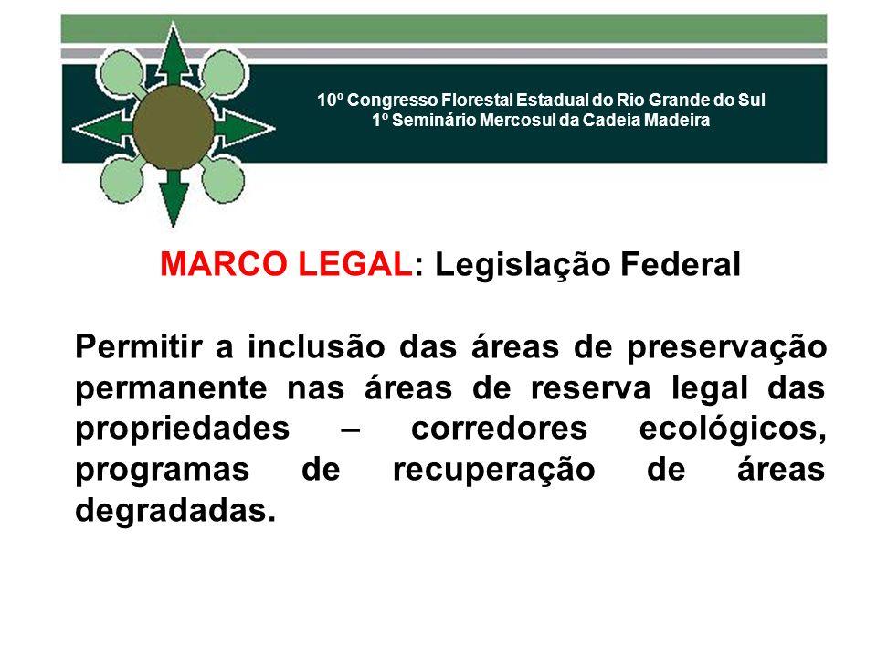 10º Congresso Florestal Estadual do Rio Grande do Sul 1º Seminário Mercosul da Cadeia Madeira MARCO LEGAL: Legislação Federal Permitir a inclusão das