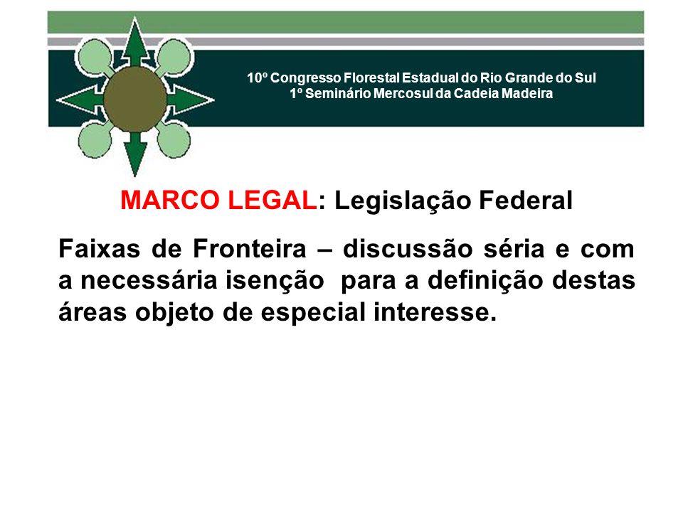 10º Congresso Florestal Estadual do Rio Grande do Sul 1º Seminário Mercosul da Cadeia Madeira MARCO LEGAL: Legislação Federal Faixas de Fronteira – di