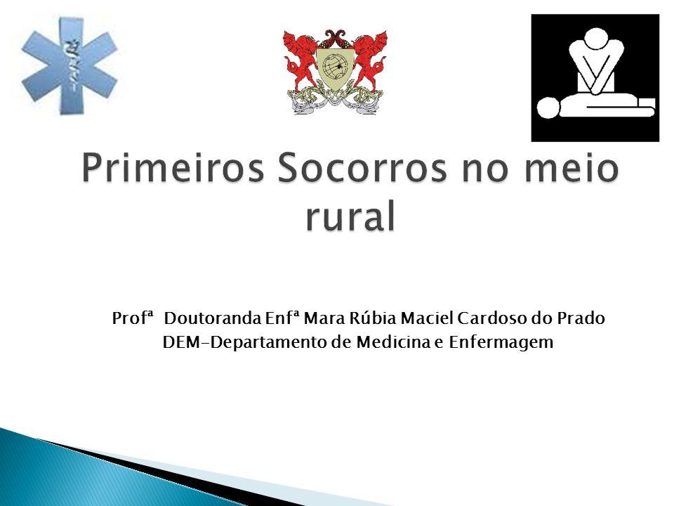 Profª Doutoranda Enfª Mara Rúbia Maciel Cardoso do Prado DEM-Departamento de Medicina e Enfermagem Primeiros Socorros no meio rural