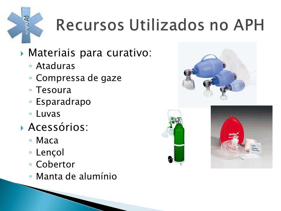 Materiais para curativo: Ataduras Compressa de gaze Tesoura Esparadrapo Luvas Acessórios: Maca Lençol Cobertor Manta de alumínio