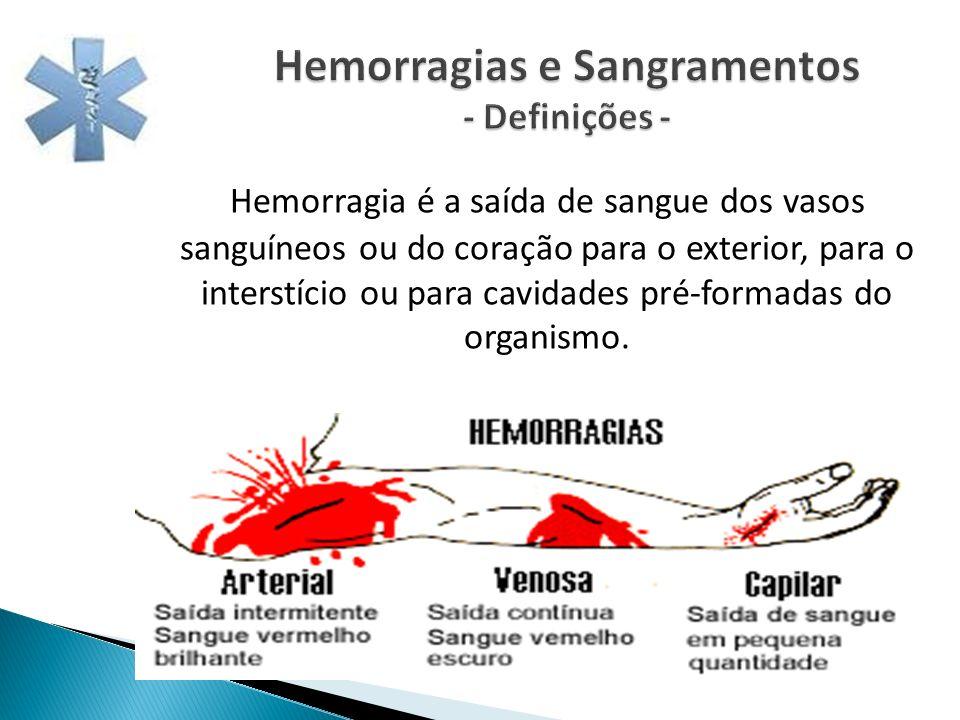Hemorragias e Sangramentos - Definições - Hemorragia é a saída de sangue dos vasos sanguíneos ou do coração para o exterior, para o interstício ou par