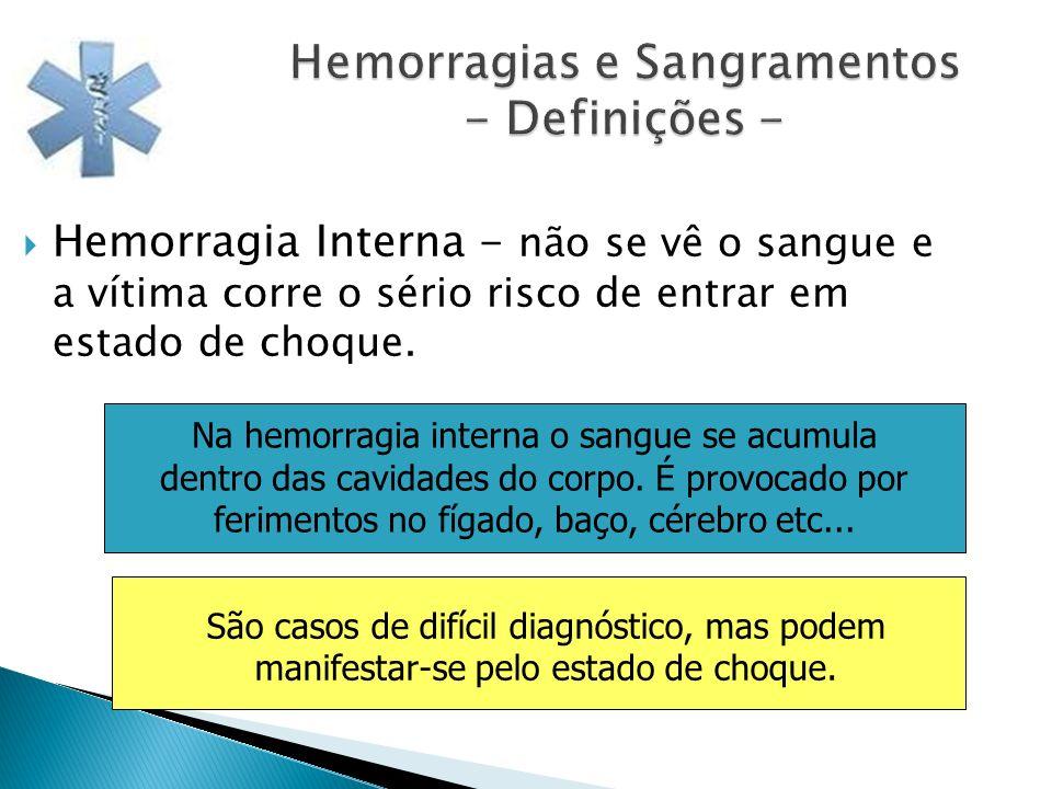 Hemorragias e Sangramentos - Definições - Hemorragia Interna - não se vê o sangue e a vítima corre o sério risco de entrar em estado de choque. Na hem