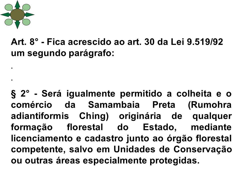 Art.8° - Fica acrescido ao art. 30 da Lei 9.519/92 um segundo parágrafo:.