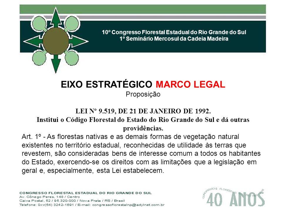 10º Congresso Florestal Estadual do Rio Grande do Sul 1º Seminário Mercosul da Cadeia Madeira EIXO ESTRATÉGICO MARCO LEGAL Proposição LEI Nº 9.519, DE 21 DE JANEIRO DE 1992.