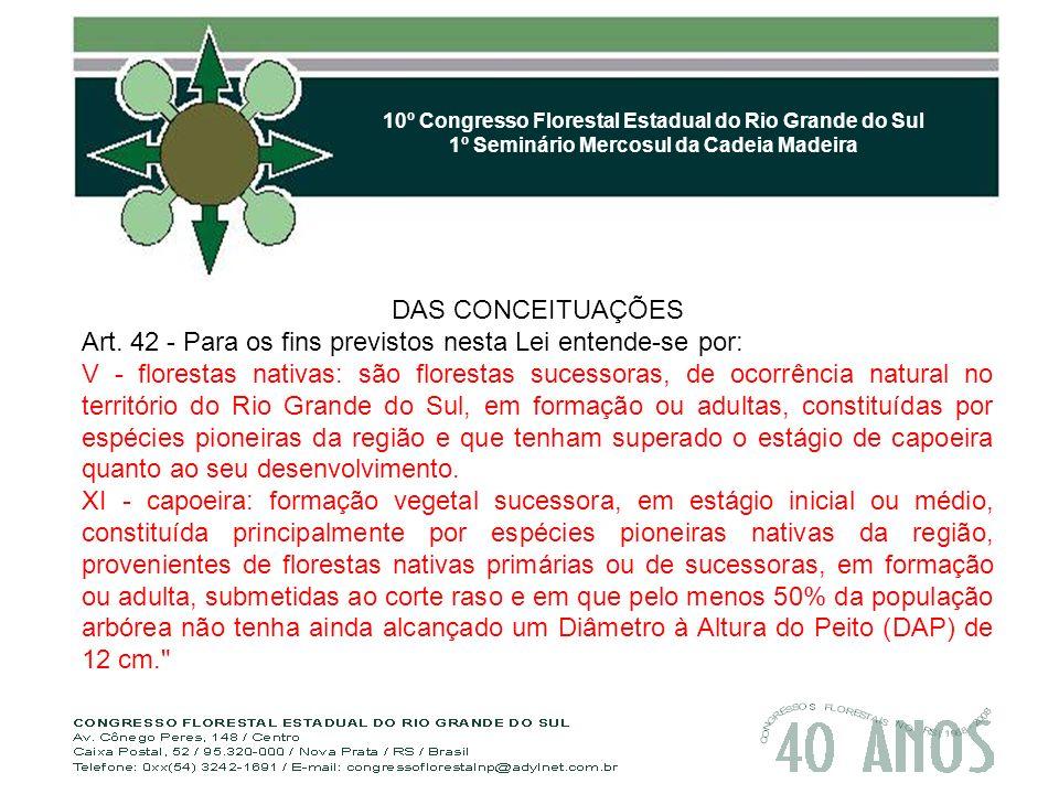 10º Congresso Florestal Estadual do Rio Grande do Sul 1º Seminário Mercosul da Cadeia Madeira DAS CONCEITUAÇÕES Art.