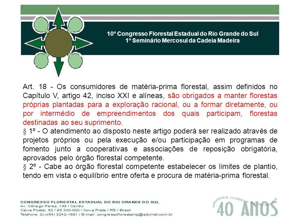 10º Congresso Florestal Estadual do Rio Grande do Sul 1º Seminário Mercosul da Cadeia Madeira Art.