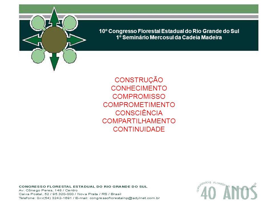 10º Congresso Florestal Estadual do Rio Grande do Sul 1º Seminário Mercosul da Cadeia Madeira CONSTRUÇÃO CONHECIMENTO COMPROMISSO COMPROMETIMENTO CONSCIÊNCIA COMPARTILHAMENTO CONTINUIDADE
