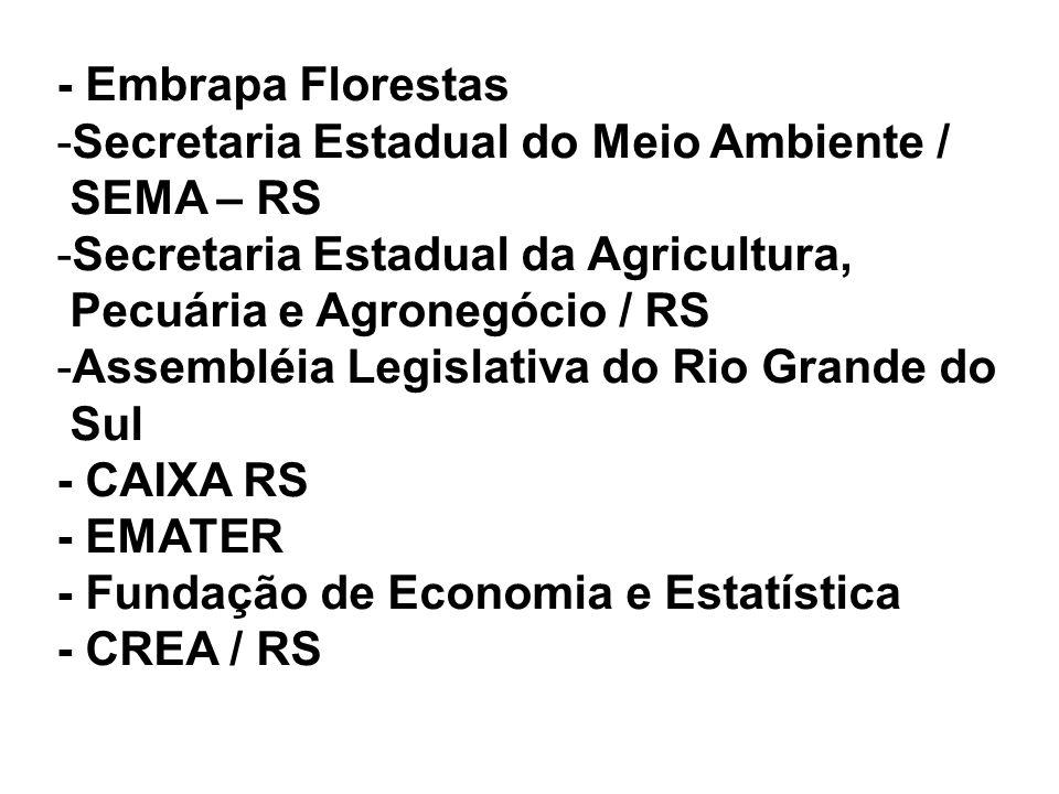 - Embrapa Florestas -Secretaria Estadual do Meio Ambiente / SEMA – RS -Secretaria Estadual da Agricultura, Pecuária e Agronegócio / RS -Assembléia Leg