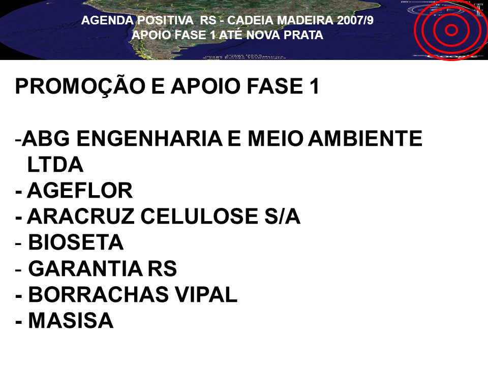 PROMOÇÃO E APOIO FASE 1 -ABG ENGENHARIA E MEIO AMBIENTE LTDA - AGEFLOR - ARACRUZ CELULOSE S/A - BIOSETA - GARANTIA RS - BORRACHAS VIPAL - MASISA AGEND