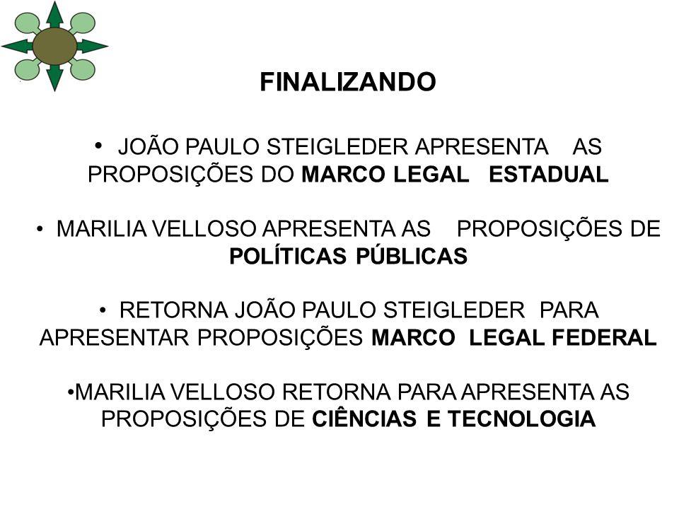 FINALIZANDO JOÃO PAULO STEIGLEDER APRESENTA AS PROPOSIÇÕES DO MARCO LEGAL ESTADUAL MARILIA VELLOSO APRESENTA AS PROPOSIÇÕES DE POLÍTICAS PÚBLICAS RETO