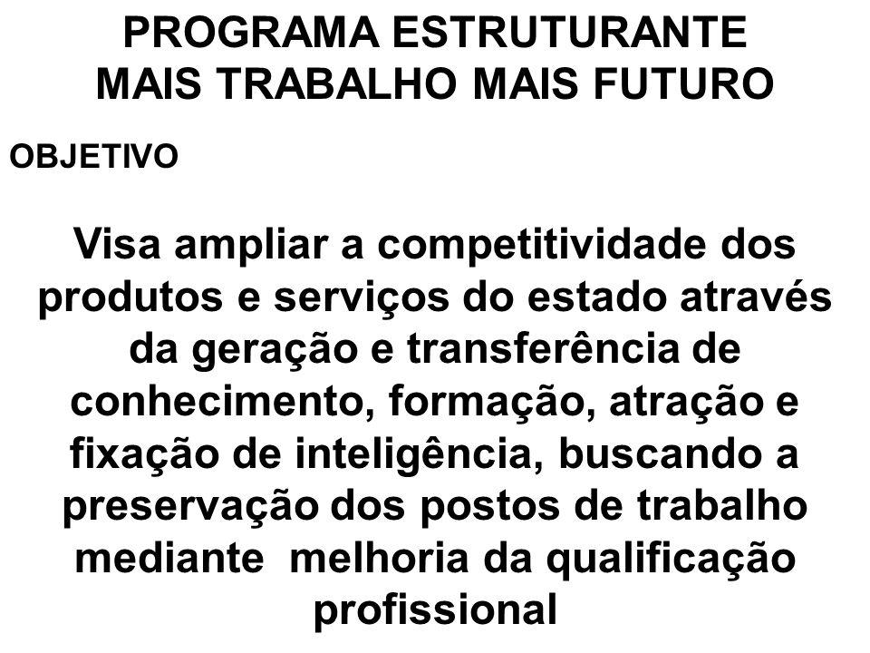 PROGRAMA ESTRUTURANTE MAIS TRABALHO MAIS FUTURO OBJETIVO Visa ampliar a competitividade dos produtos e serviços do estado através da geração e transfe