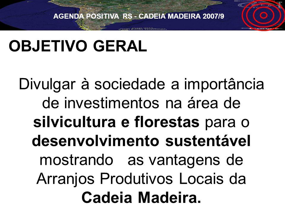 OBJETIVO GERAL Divulgar à sociedade a importância de investimentos na área de silvicultura e florestas para o desenvolvimento sustentável mostrando as