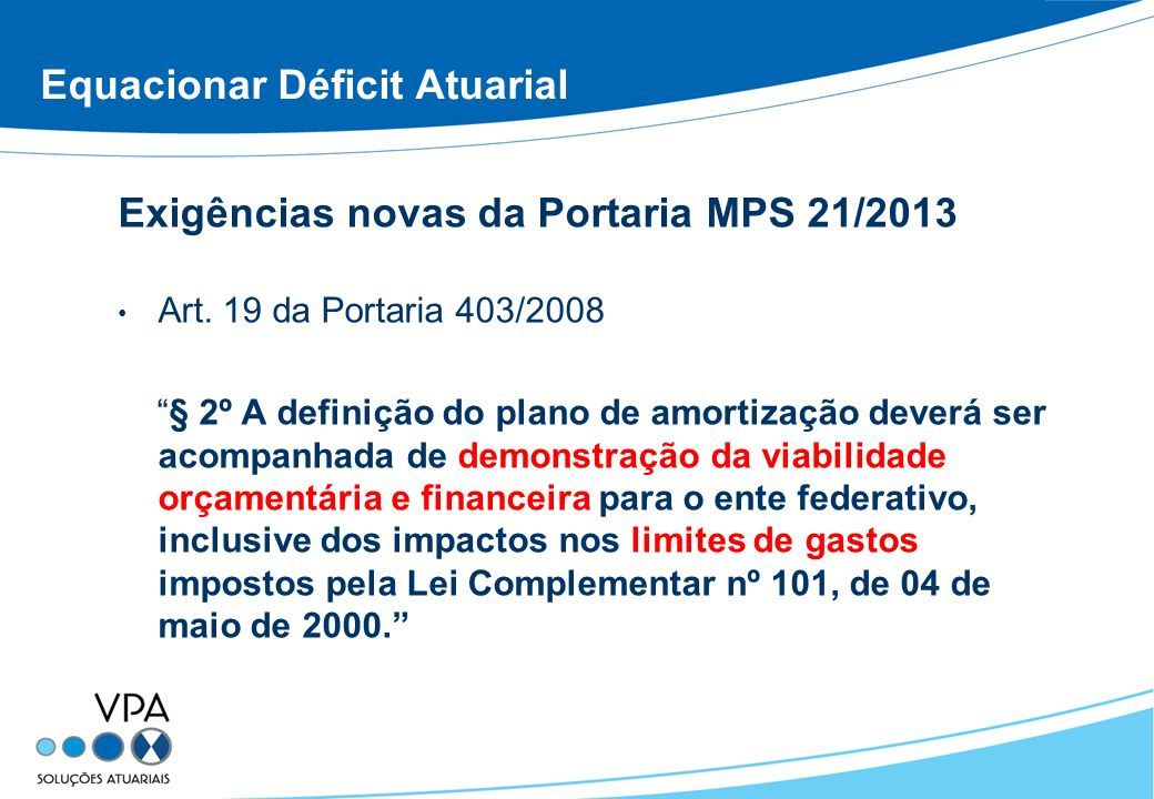 Equacionar Déficit Atuarial Exigências novas da Portaria MPS 21/2013 Art. 19 da Portaria 403/2008 § 2º A definição do plano de amortização deverá ser