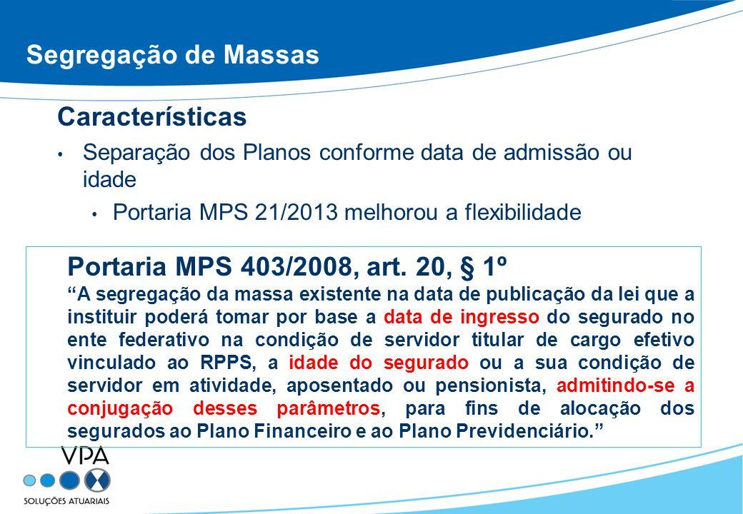 Segregação de Massas Características Separação dos Planos conforme data de admissão ou idade Portaria MPS 21/2013 melhorou a flexibilidade Portaria MP