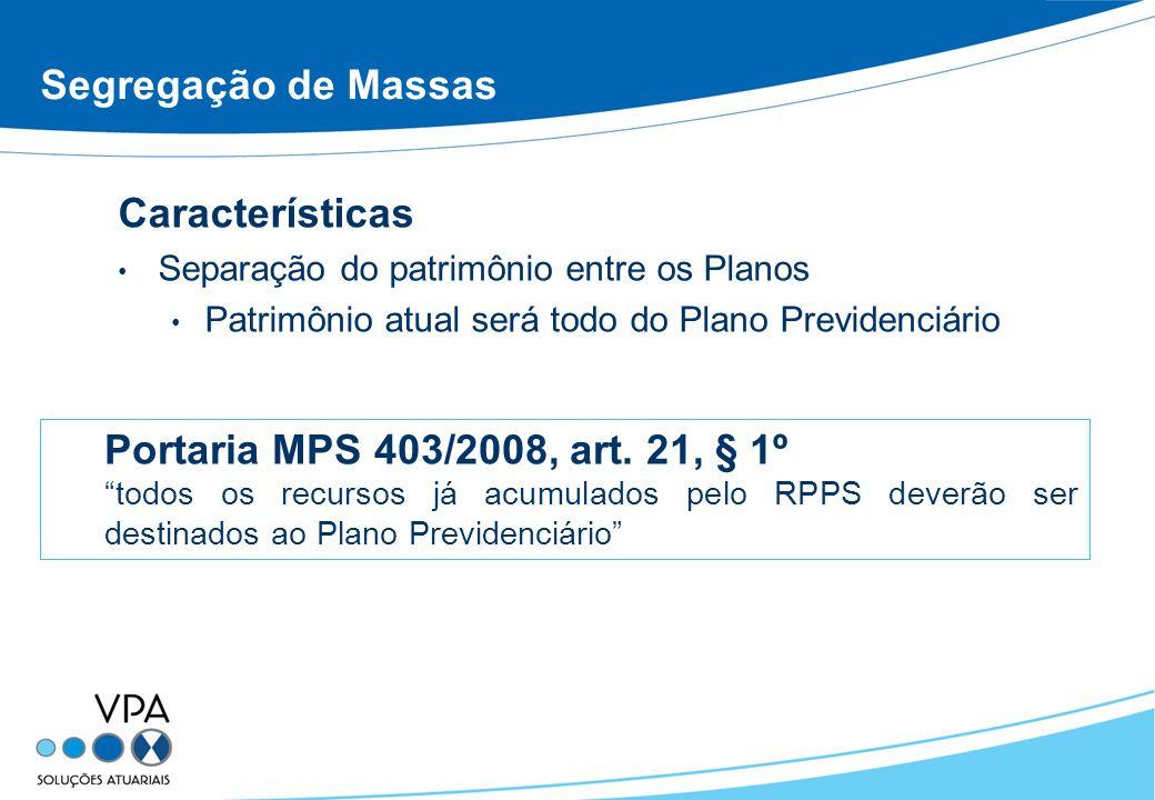 Segregação de Massas Características Separação do patrimônio entre os Planos Patrimônio atual será todo do Plano Previdenciário Portaria MPS 403/2008,