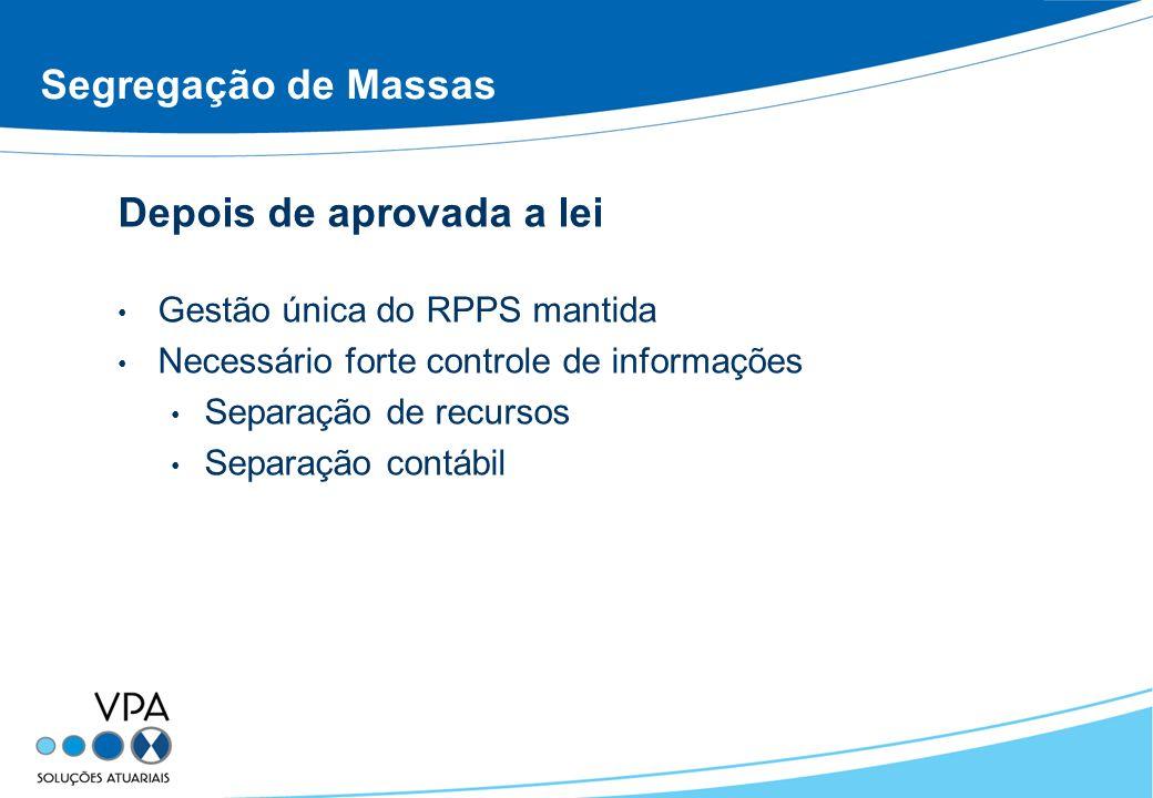 Segregação de Massas Depois de aprovada a lei Gestão única do RPPS mantida Necessário forte controle de informações Separação de recursos Separação co