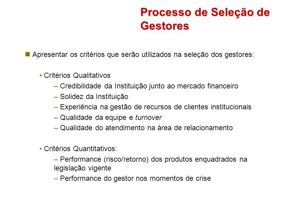 Processo de Seleção de Gestores Apresentar os critérios que serão utilizados na seleção dos gestores: Critérios Qualitativos – Credibilidade da Instit