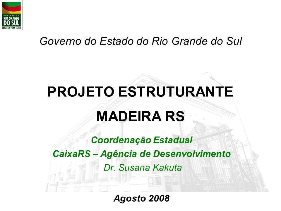 PROJETO ESTRUTURANTE MADEIRA RS Governo do Estado do Rio Grande do Sul Coordenação Estadual CaixaRS – Agência de Desenvolvimento Dr. Susana Kakuta Ago