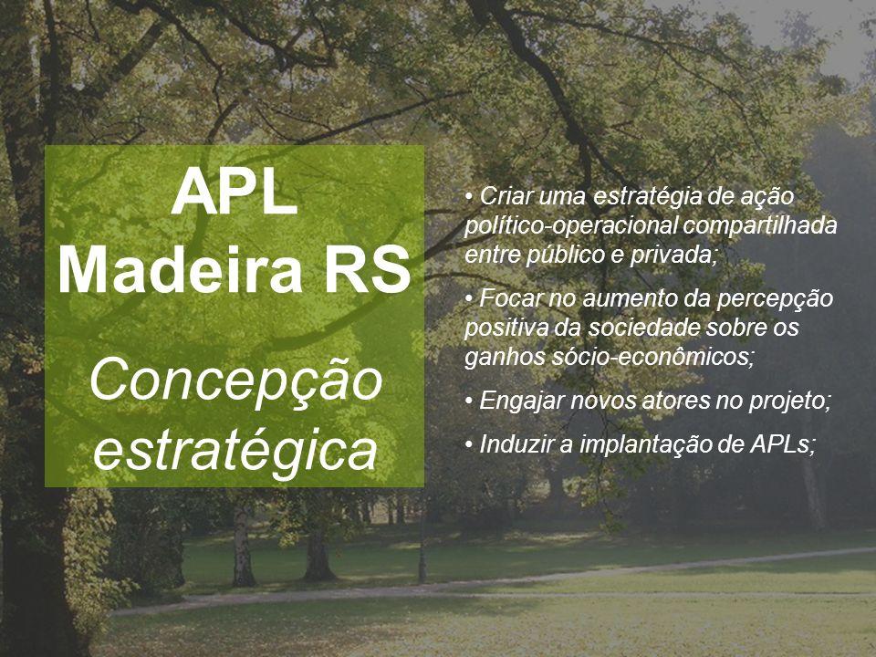 APL Madeira RS Concepção estratégica Criar uma estratégia de ação político-operacional compartilhada entre público e privada; Focar no aumento da perc