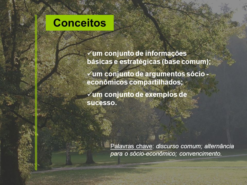 Conceitos um conjunto de informações básicas e estratégicas (base comum); um conjunto de argumentos sócio - econômicos compartilhados; um conjunto de