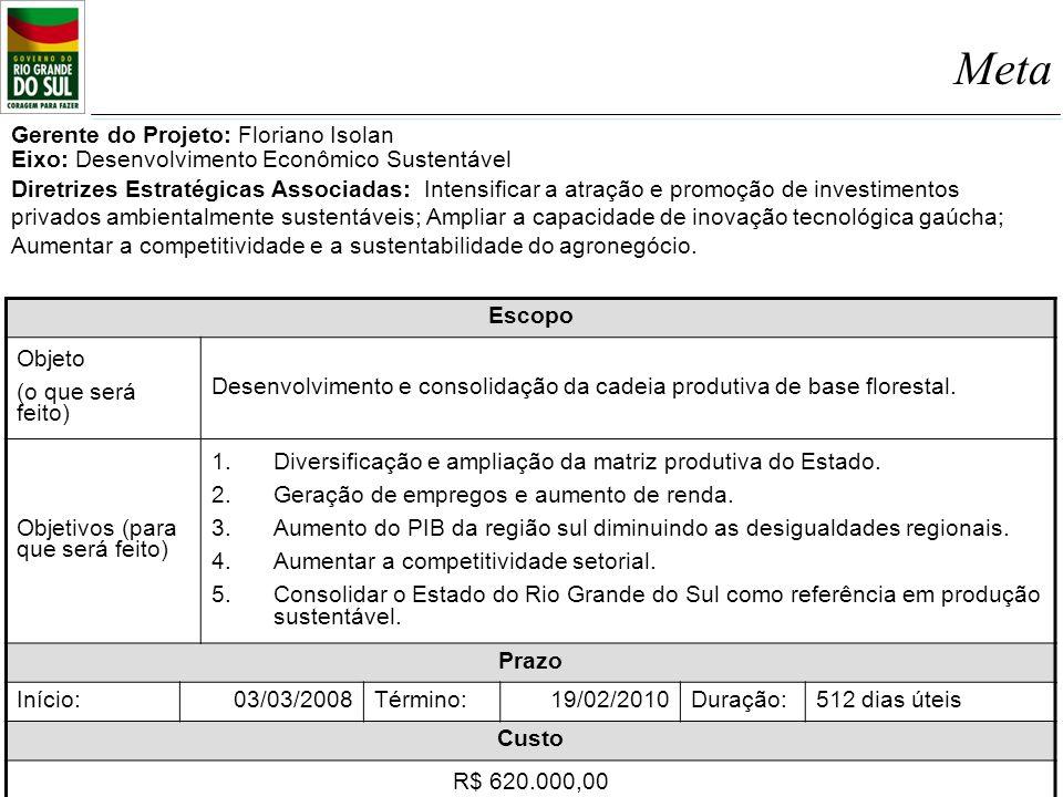 Meta Escopo Objeto (o que será feito) Desenvolvimento e consolidação da cadeia produtiva de base florestal. Objetivos (para que será feito) 1.Diversif