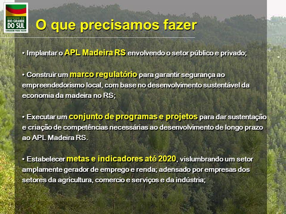 O que precisamos fazer Implantar o APL Madeira RS envolvendo o setor público e privado; Construir um marco regulat ó rio para garantir segurança ao em