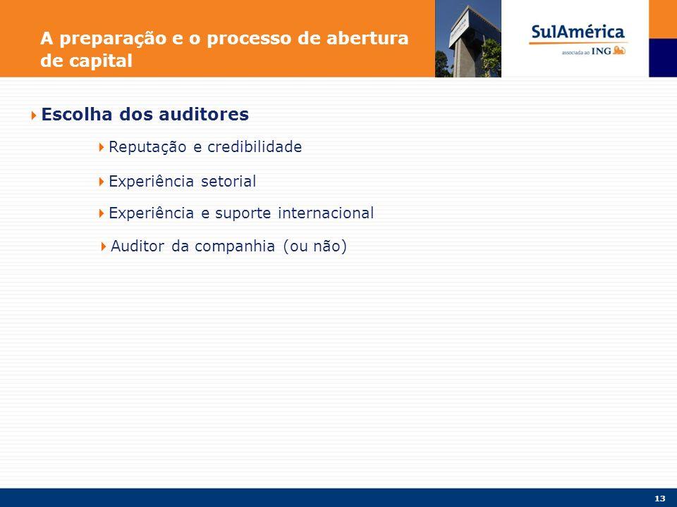 13 A preparação e o processo de abertura de capital Escolha dos auditores Reputação e credibilidade Experiência setorial Experiência e suporte internacional Auditor da companhia (ou não)