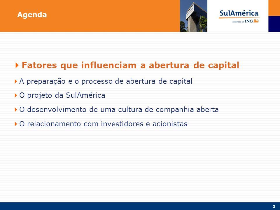 3 Agenda Fatores que influenciam a abertura de capital A preparação e o processo de abertura de capital O projeto da SulAmérica O desenvolvimento de uma cultura de companhia aberta O relacionamento com investidores e acionistas