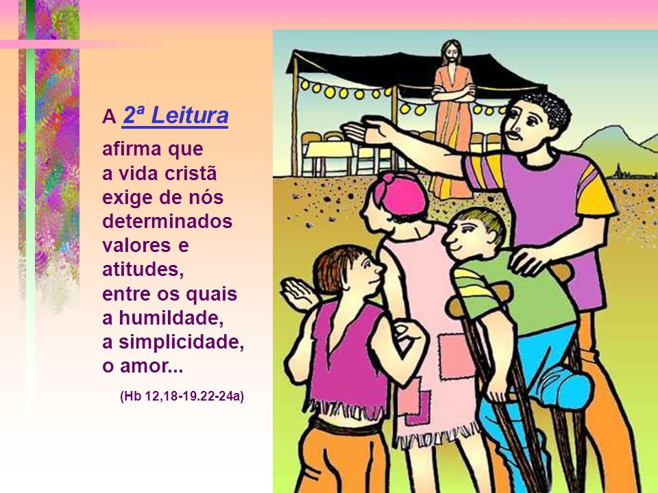 A 1ª Leitura fala da virtude da HUMILDADE, para ser agradável a Deus e aos homens, para ter êxito e ser feliz. (Eclo 3,19-21.30-31) * O texto propõe o