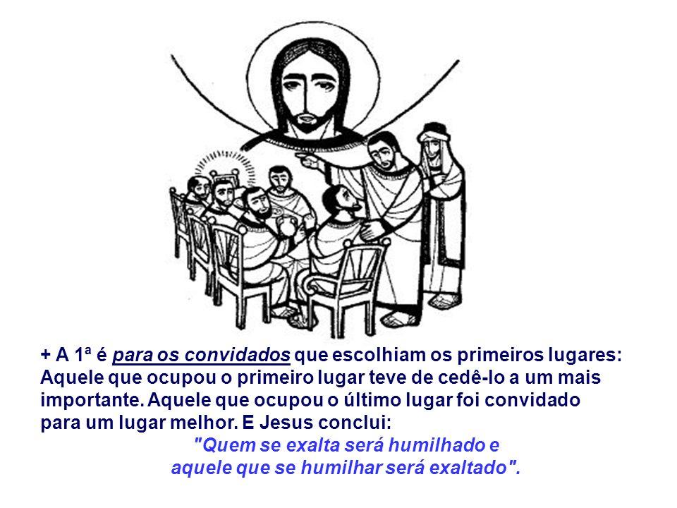 O Evangelho mostra que Jesus veio criar uma nova humanidade, fundamentada no espírito da humildade. (Lc 14, 1.7-14) Jesus é convidado a um banquete na