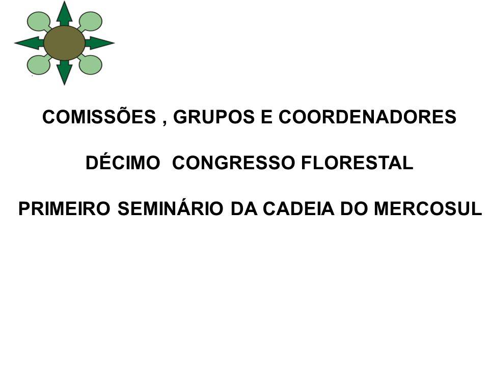 COMISSÕES, GRUPOS E COORDENADORES DÉCIMO CONGRESSO FLORESTAL PRIMEIRO SEMINÁRIO DA CADEIA DO MERCOSUL