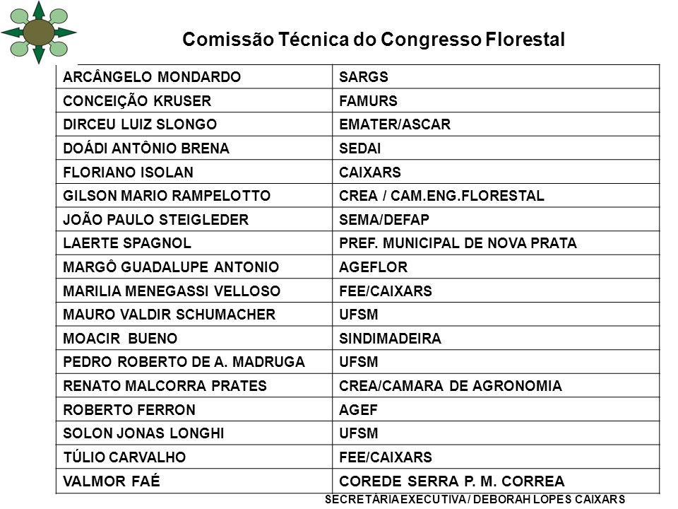 Comissão Técnica do Congresso Florestal ARCÂNGELO MONDARDOSARGS CONCEIÇÃO KRUSERFAMURS DIRCEU LUIZ SLONGOEMATER/ASCAR DOÁDI ANTÔNIO BRENASEDAI FLORIAN