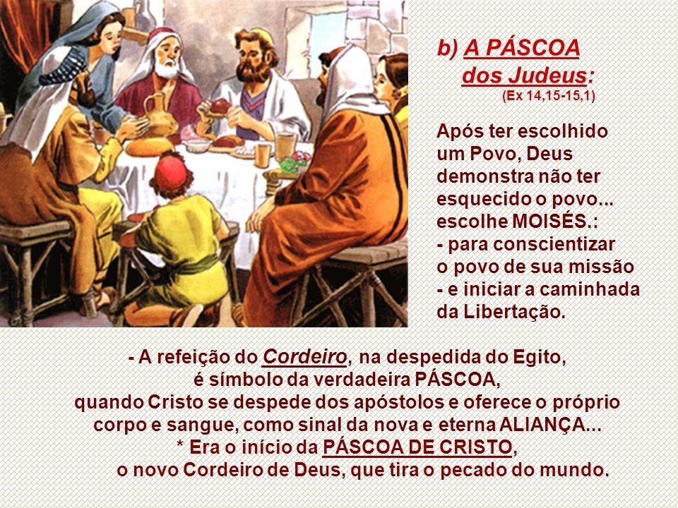 - A refeição do Cordeiro, na despedida do Egito, é símbolo da verdadeira PÁSCOA, quando Cristo se despede dos apóstolos e oferece o próprio corpo e sangue, como sinal da nova e eterna ALIANÇA...