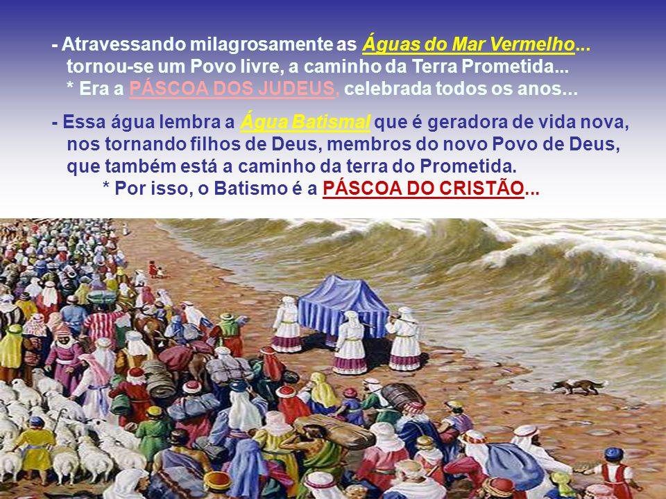 - A refeição do Cordeiro, na despedida do Egito, é símbolo da verdadeira PÁSCOA, quando Cristo se despede dos apóstolos e oferece o próprio corpo e sa