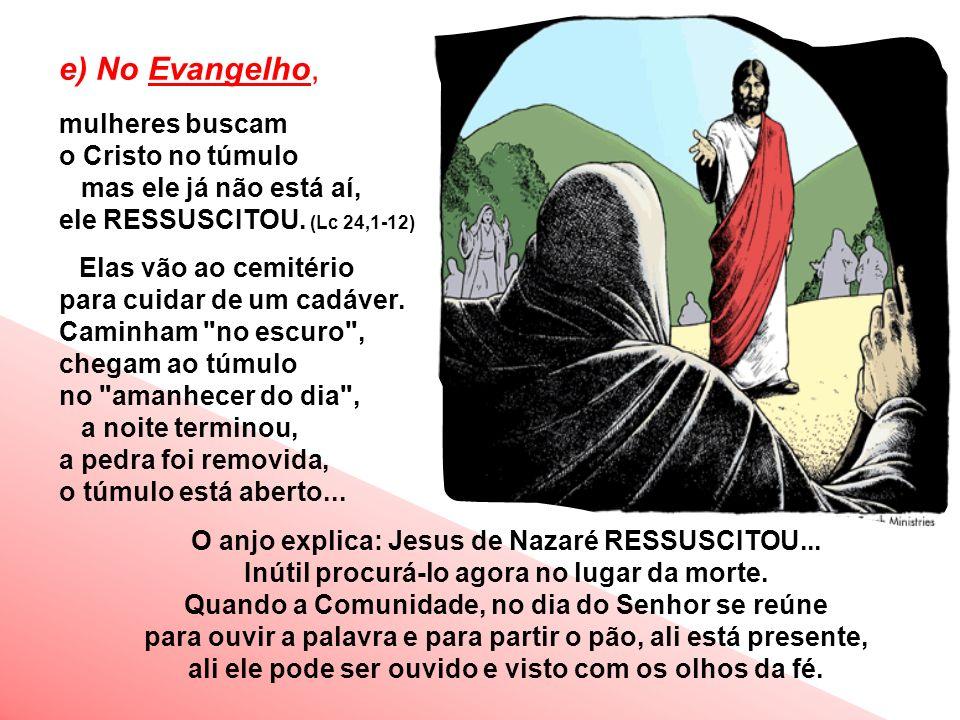e) No Evangelho, mulheres buscam o Cristo no túmulo mas ele já não está aí, ele RESSUSCITOU.