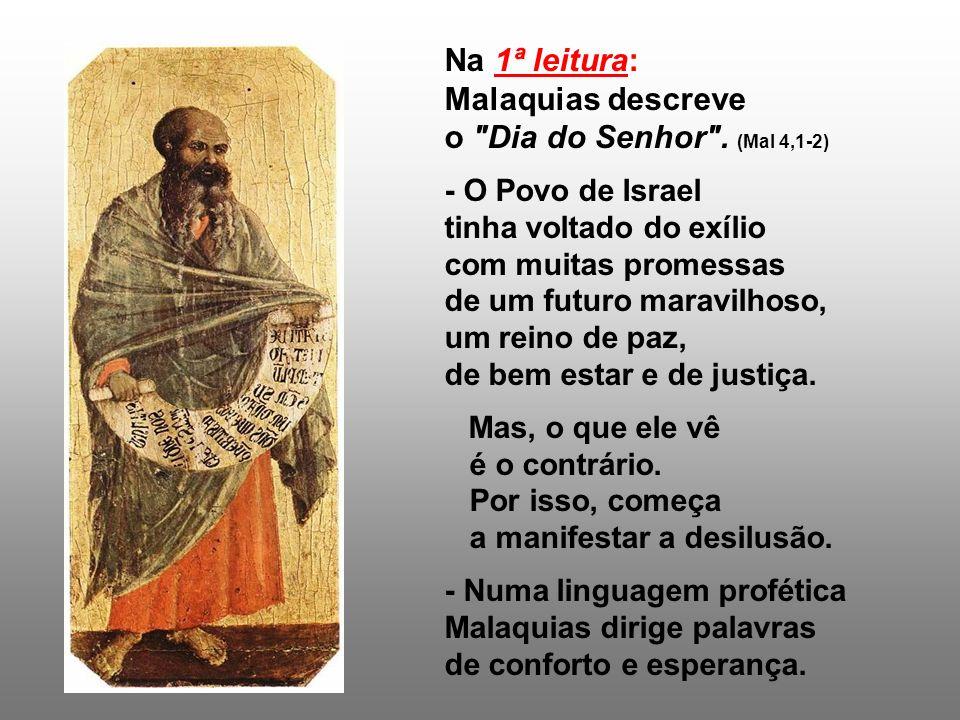 No Discurso escatológico, Jesus define a missão da Igreja na História: Dar testemunho da Boa nova e construir o Reino.