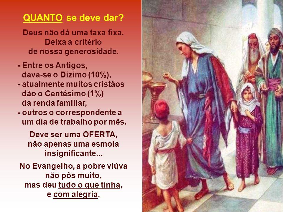 - No Antigo Testamento: tinham o DÍZIMO... - Os Primeiros cristãos: punham todos os bens em comum... - A Igreja retomou o Dízimo, como um dos PRECEITO