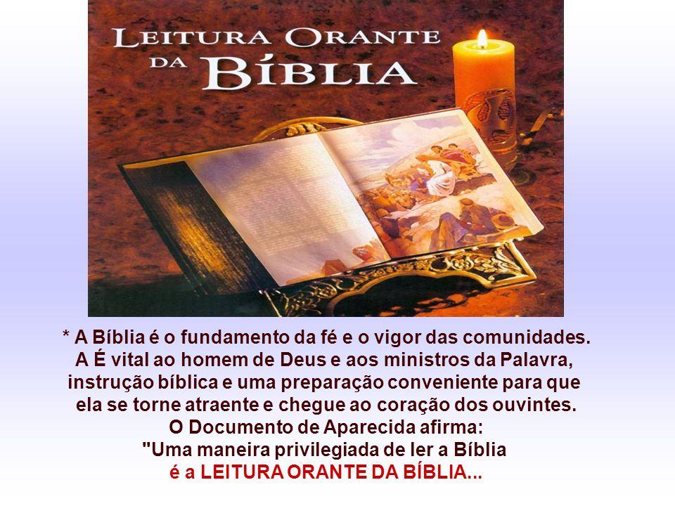 * A Bíblia é o fundamento da fé e o vigor das comunidades.
