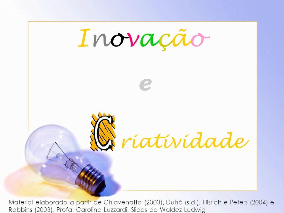Inovação eInovação e riatividade Material elaborado a partir de Chiavenatto (2003), Duhá (s.d.), Hisrich e Peters (2004) e Robbins (2003), Profa. Caro