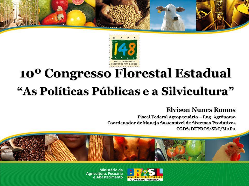 10º Congresso Florestal Estadual As Políticas Públicas e a Silvicultura Elvison Nunes Ramos Fiscal Federal Agropecuário – Eng. Agrônomo Coordenador de