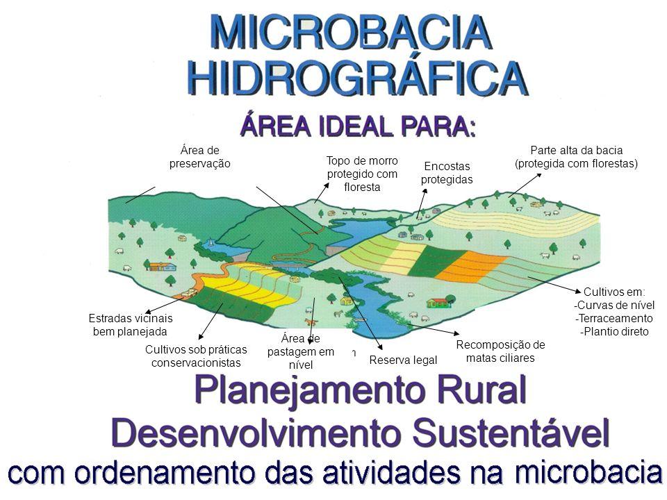Cultivos em: -Curvas de nível -Terraceamento -Plantio direto Área de preservação permanente Topo de morro protegido com floresta Encostas protegidas P