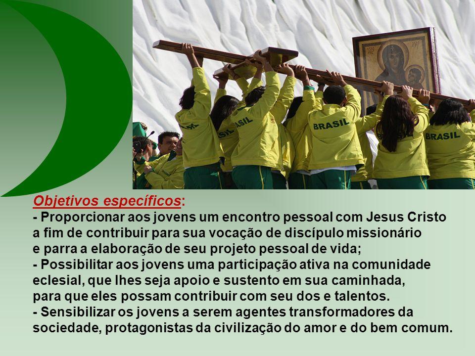 O Objetivo geral da CF é acolher os jovens no contexto de mudança de época, propiciando caminhos para seu protagonismo no seguimento de Jesus Cristo,